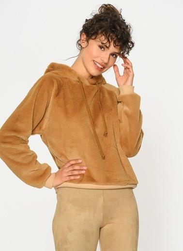 Loves You Yumuşak Dokulu Kapüşonlu Tüylü Sweatshirt Camel